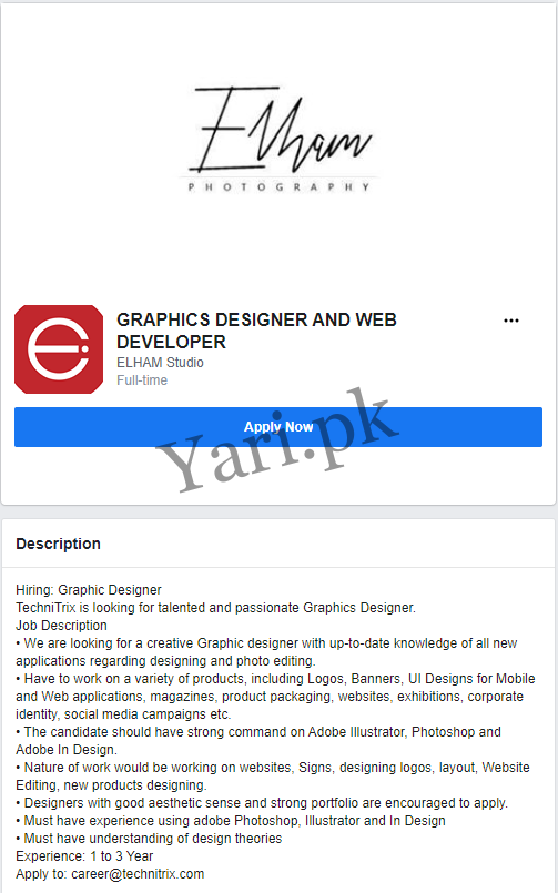 Graphics Designer And Web Developer Jobs 2020