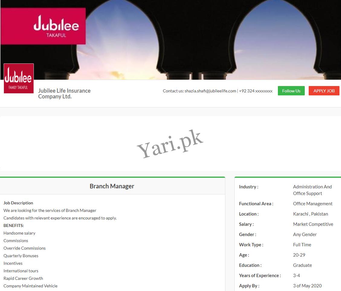 Jubilee Life Insurance Company Ltd Latest Jobs | 2020