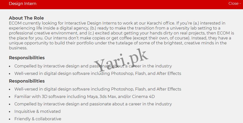 Ecompk Designer Internships In Karachi Latest Jobs 2020