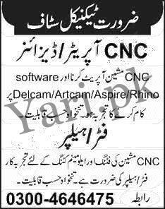 Latest Private Jobs In Lahore Cnc Operator Designer Vacancies 2020