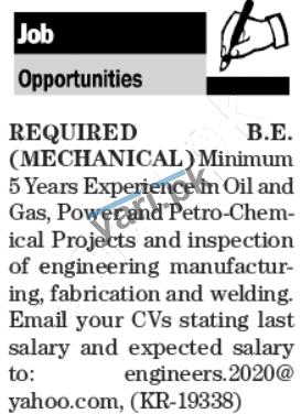 Mechanical Engineer Jobs In Karachi 2020