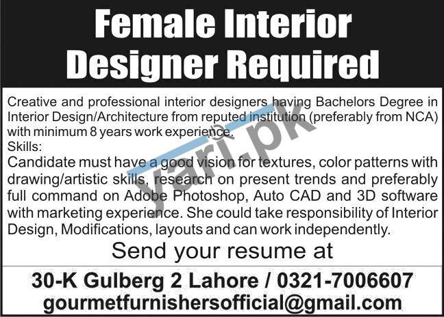 Gourmet Homes Furnishers Jobs For Interior Designer Lahore 2020