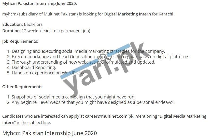 Myhcm Pakistan Internship June 2020