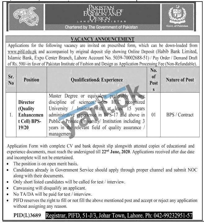 Pakistan Institute Of Fashion Design Pifd Lahore Govt Jobs 2020
