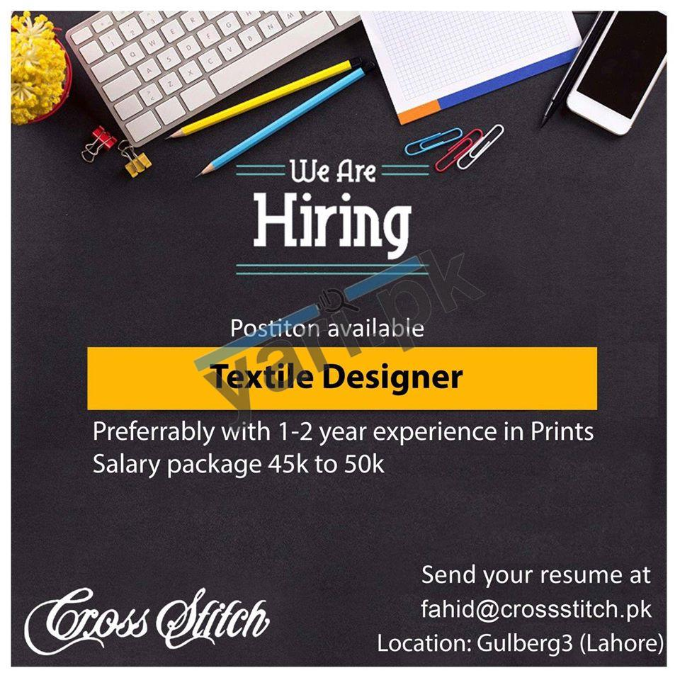 Brand Cross Stitch Textile Designer Jobs Lahore 2020