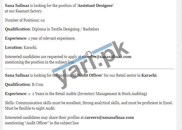Sana Safinaz Jobs Offers Assistant Designer Audit Officer Jobs Karachi 2020