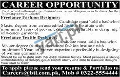 Freelance Fashion Designer Textile Designer Jobs In Lahore 2020
