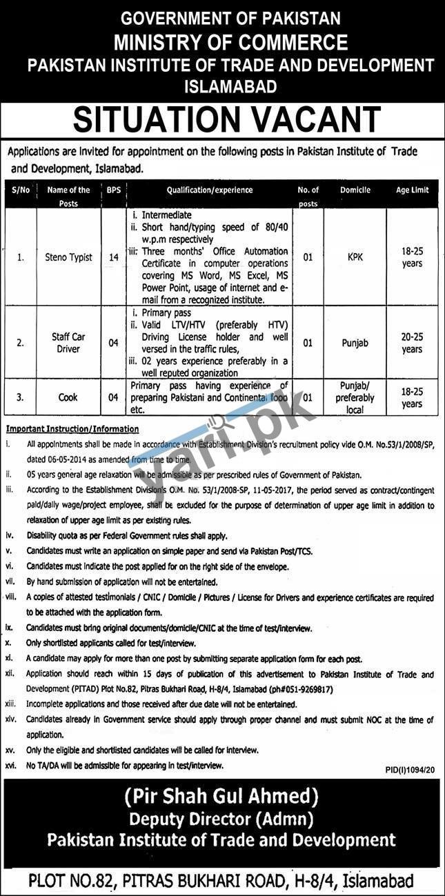 Pakistan Institute Of Trade Development Pitad Jobs Express Jobs 2020