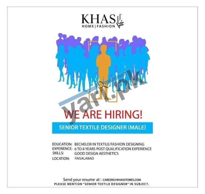 Senior Textile Designer Jobs In Faisalabad Khas Store Jobs 2020