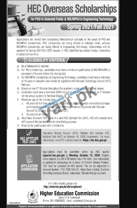 HEC Overseas Scholarships For PhD MS M.Phil Students   2020-21