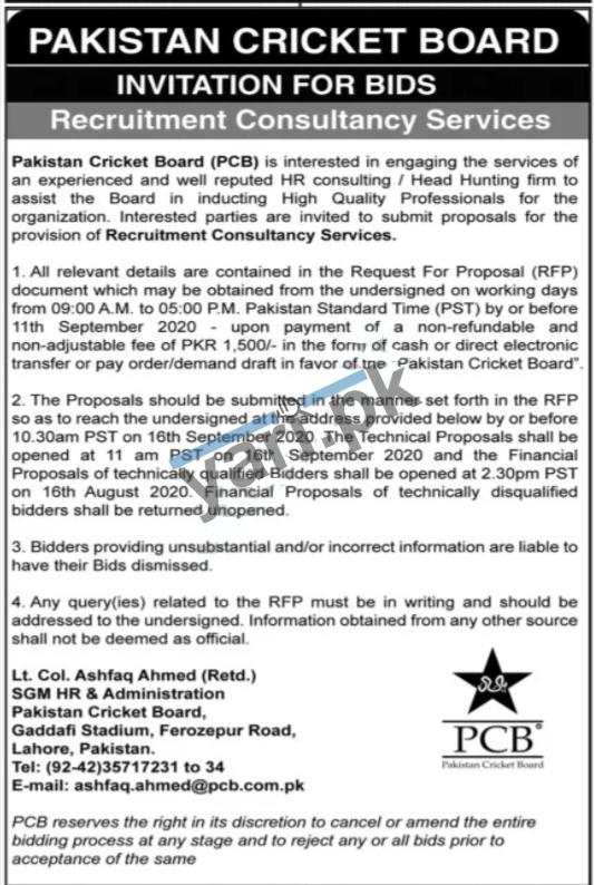 Pakistan Cricket Board PCB Jobs