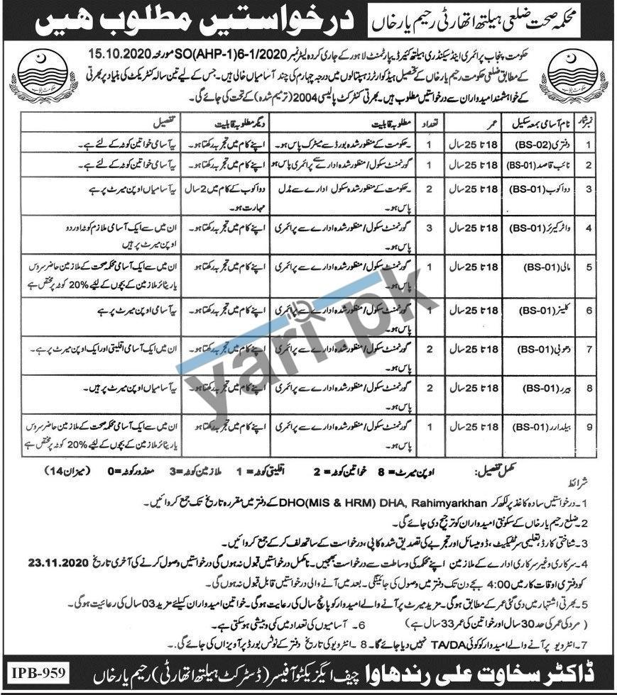 Health Department Rahim Yar Khan Jobs | Govt Health ...