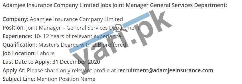 Insurance Company Manager Jobs In Lahore Yari Pk Jobs