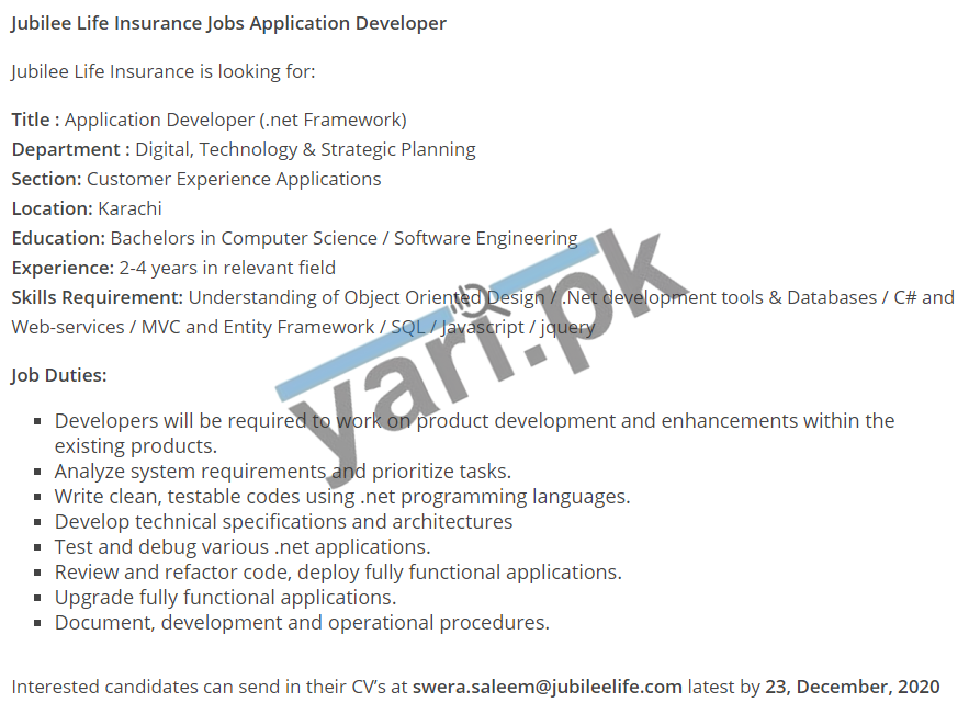 Application Developer Jobs In Karachi | Yari.pk