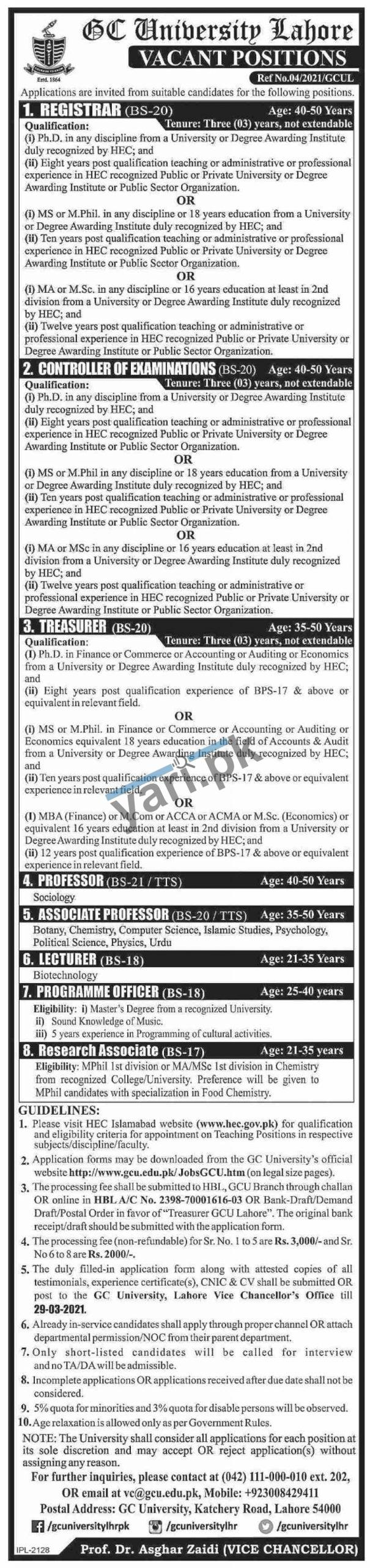 Professors Jobs for Government College