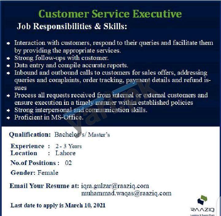 Customer Service Executive Jobs in Karachi