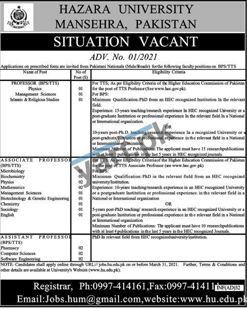 hazara-university-jobs-2021-for-professor