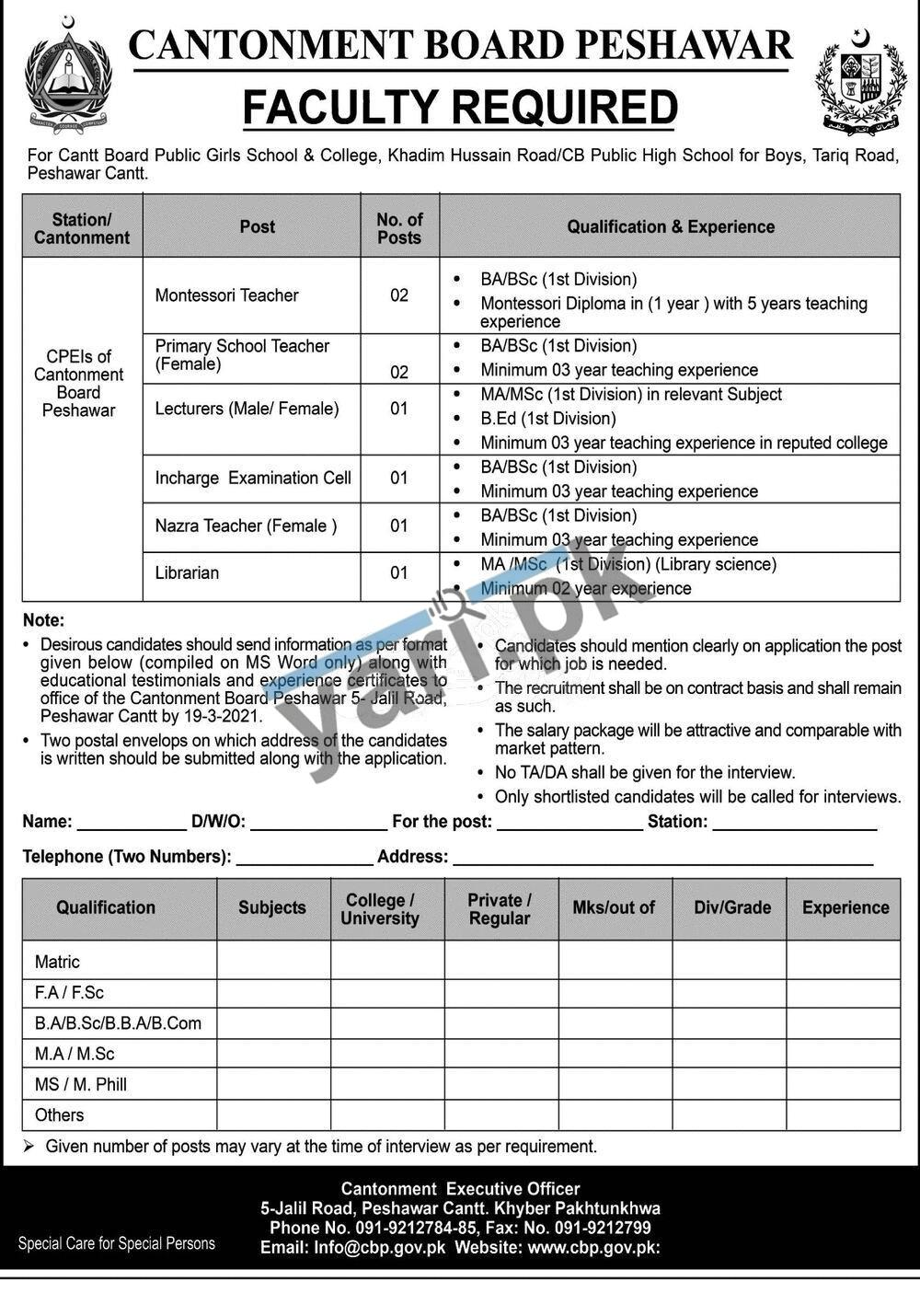 Librarian Jobs in Cantt Board Public