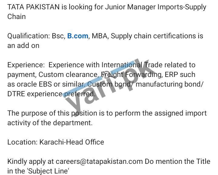 TATA Pakistan Jobs