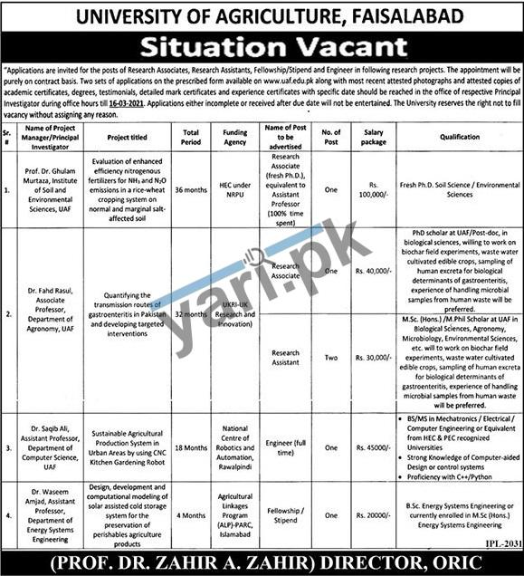 university-of-agricultural-faisalabad-jobs-2021