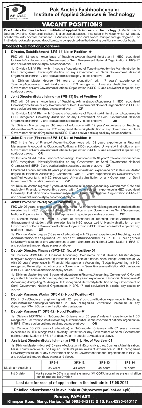 assistant-director-jobs-in-institute-of-applied-sciences-tecnology-2021