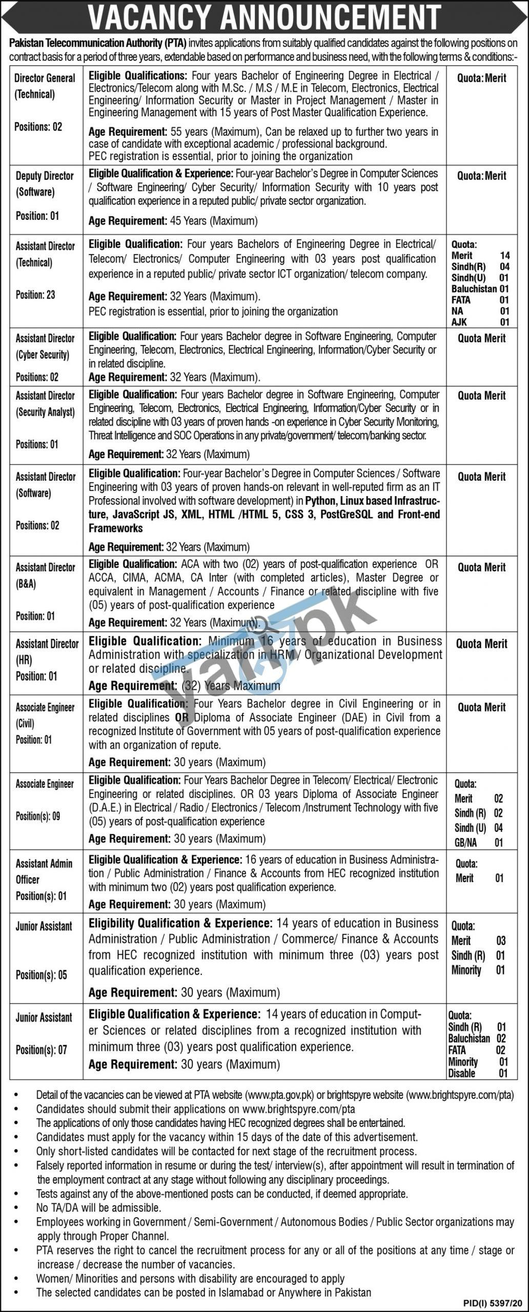 Pakistan Telecommunication Authority PTA Jobs
