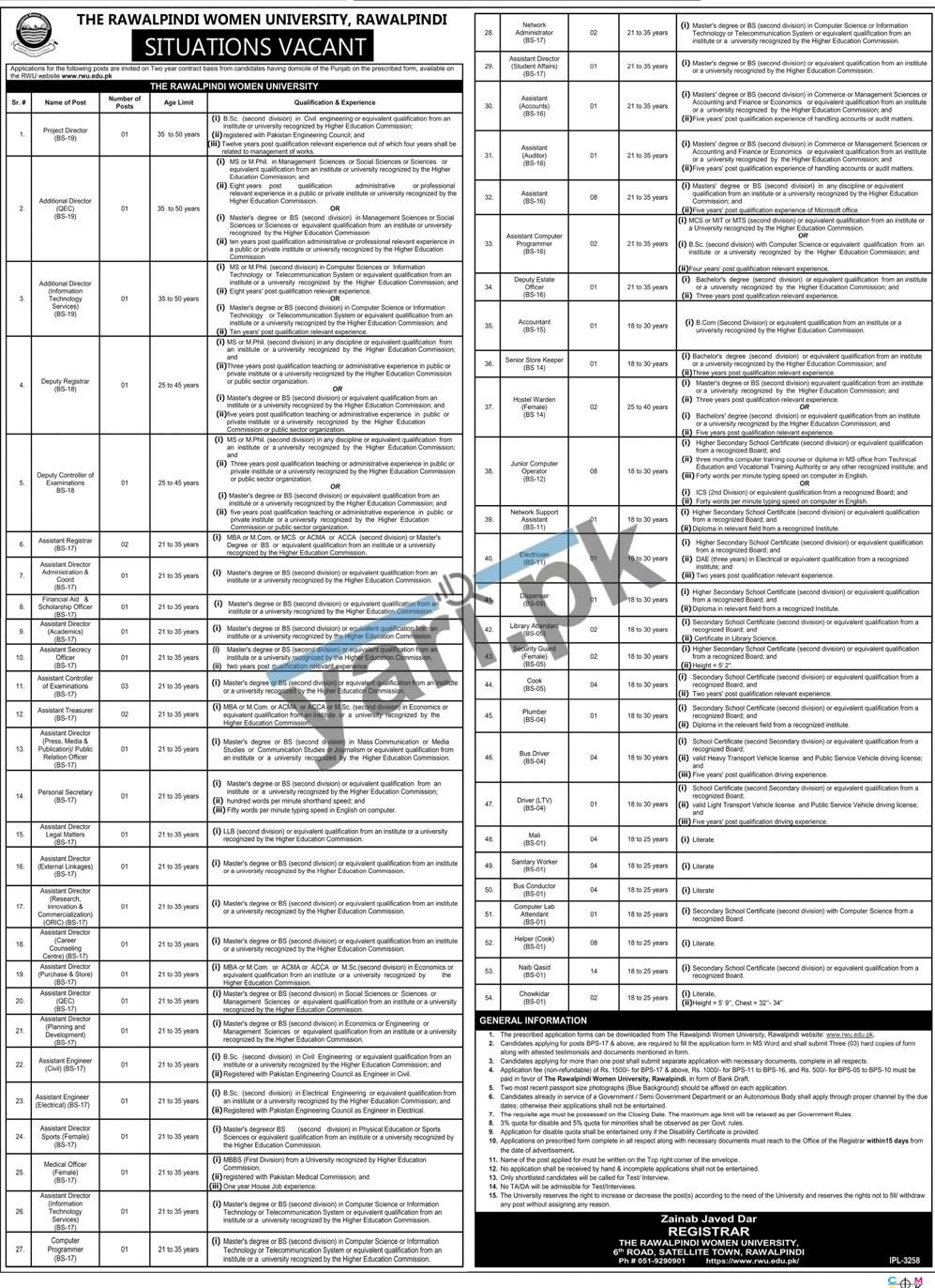 rawalpindi-women-university-jobs-2021