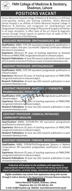 fmh-college-of-medicine-dentistry-jobs-2021