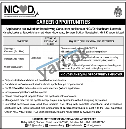 national-institute-of-cardiovascular-diseases-jobs-2021