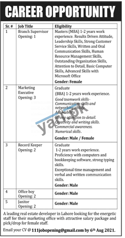 real-estate-company-jobs-2021-for-branch-supervisor