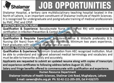 shalamar-hospital-jobs-2021-for-medical-transcriptionist