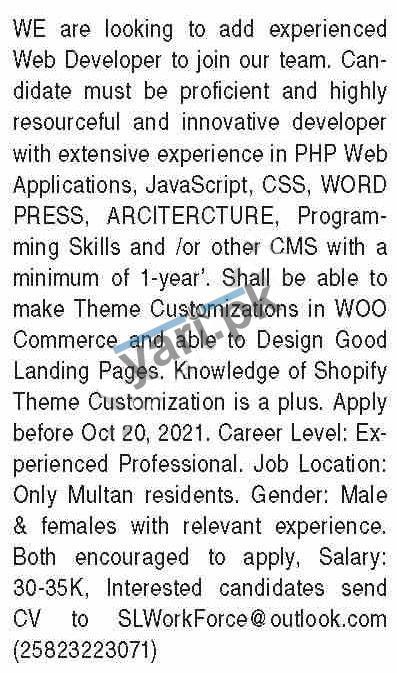 Web Developer & Computer Technician Jobs 2021 in Multan